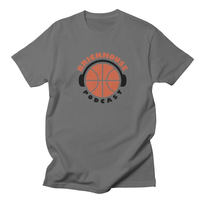 Brickhouse Podcast Logo Apparel (Flat) Orange/Black Men's T-Shirt by Brickhouse Podcast Shop