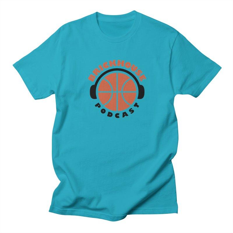 Brickhouse Podcast Logo Apparel (Flat) Orange/Black Men's Regular T-Shirt by Brickhouse Podcast Shop