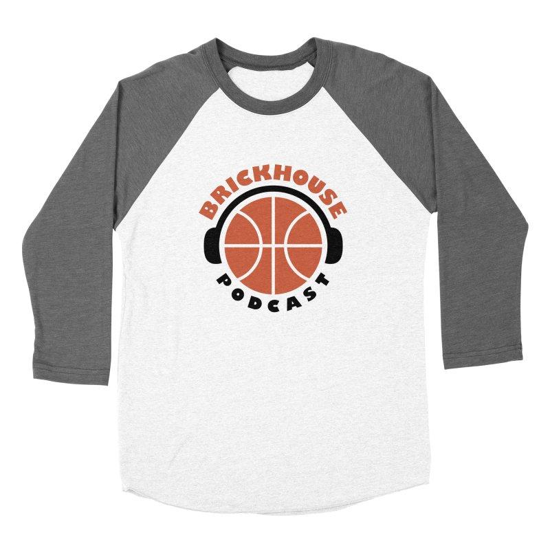 Brickhouse Podcast Logo Apparel (Flat) Orange/Black Women's Baseball Triblend Longsleeve T-Shirt by Brickhouse Podcast Shop