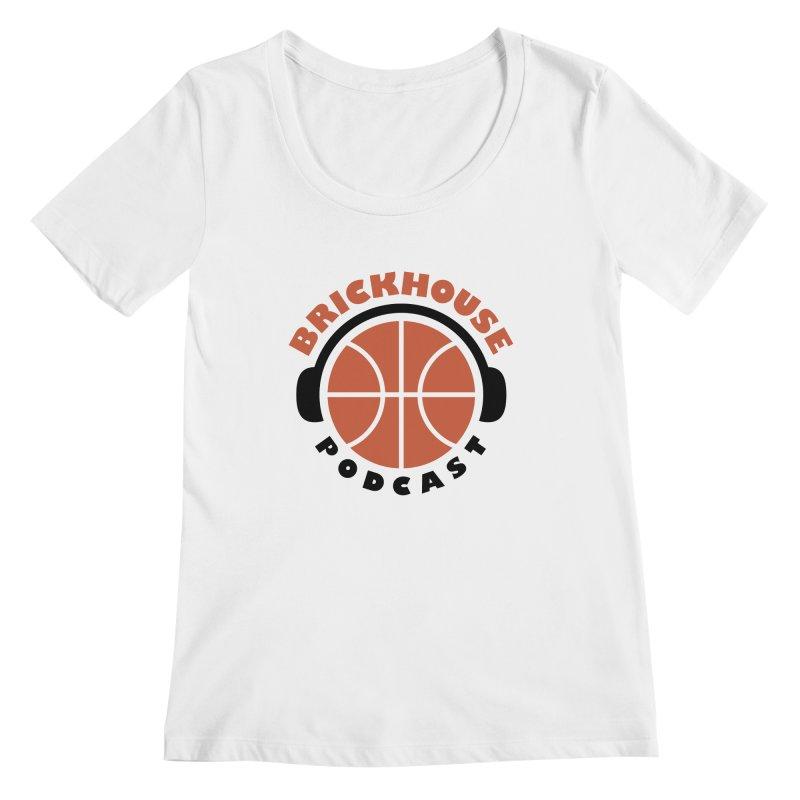 Brickhouse Podcast Logo Apparel (Flat) Orange/Black Women's Regular Scoop Neck by Brickhouse Podcast Shop