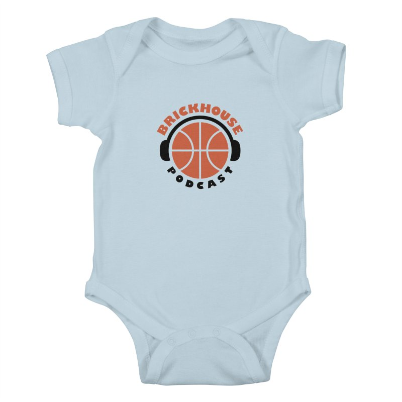 Brickhouse Podcast Logo Apparel (Flat) Orange/Black Kids Baby Bodysuit by Brickhouse Podcast Shop