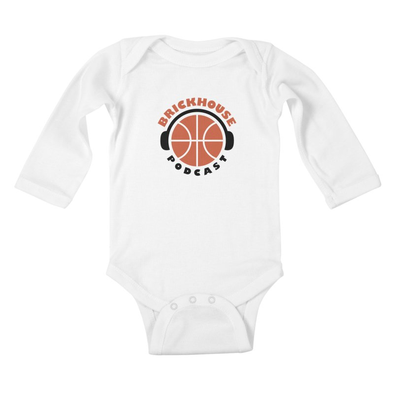 Brickhouse Podcast Logo Apparel (Flat) Orange/Black Kids Baby Longsleeve Bodysuit by Brickhouse Podcast Shop