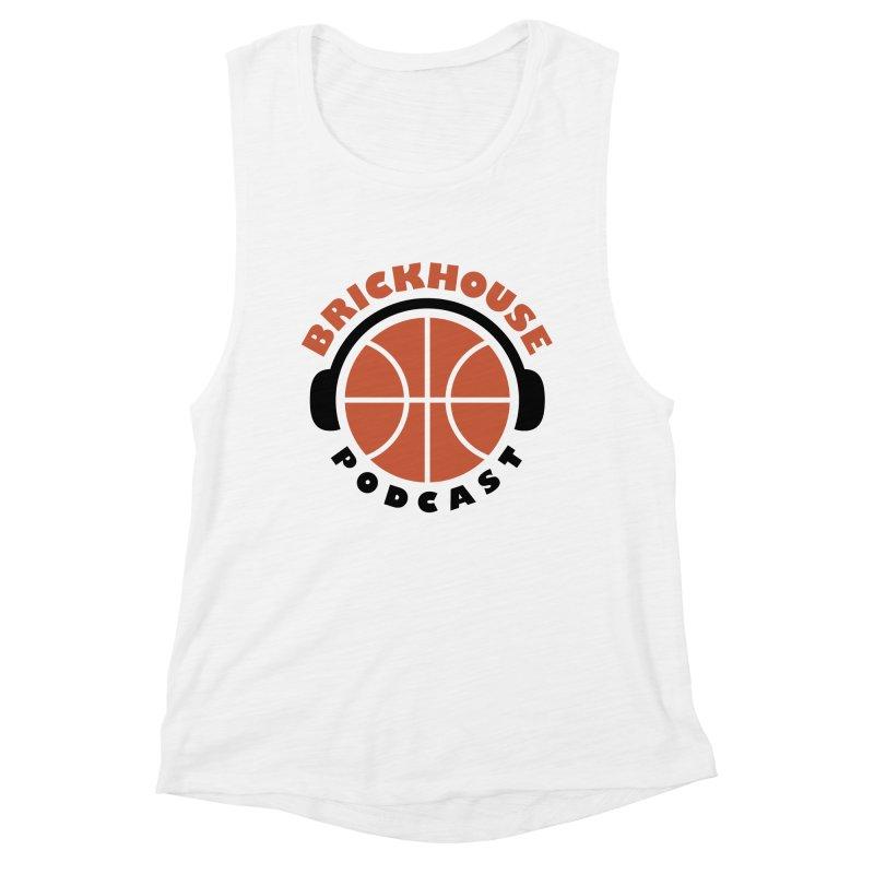 Brickhouse Podcast Logo Apparel (Flat) Orange/Black Women's Muscle Tank by Brickhouse Podcast Shop