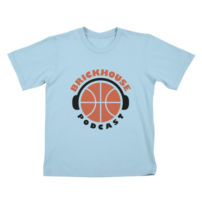 Brickhouse Podcast Logo Apparel (Flat) Orange/Black Kids T-Shirt by Brickhouse Podcast Shop