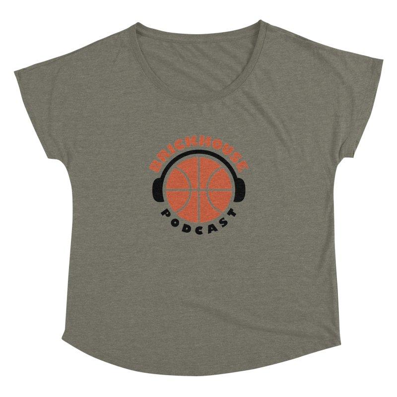 Brickhouse Podcast Logo Apparel (Flat) Orange/Black Women's Dolman Scoop Neck by Brickhouse Podcast Shop