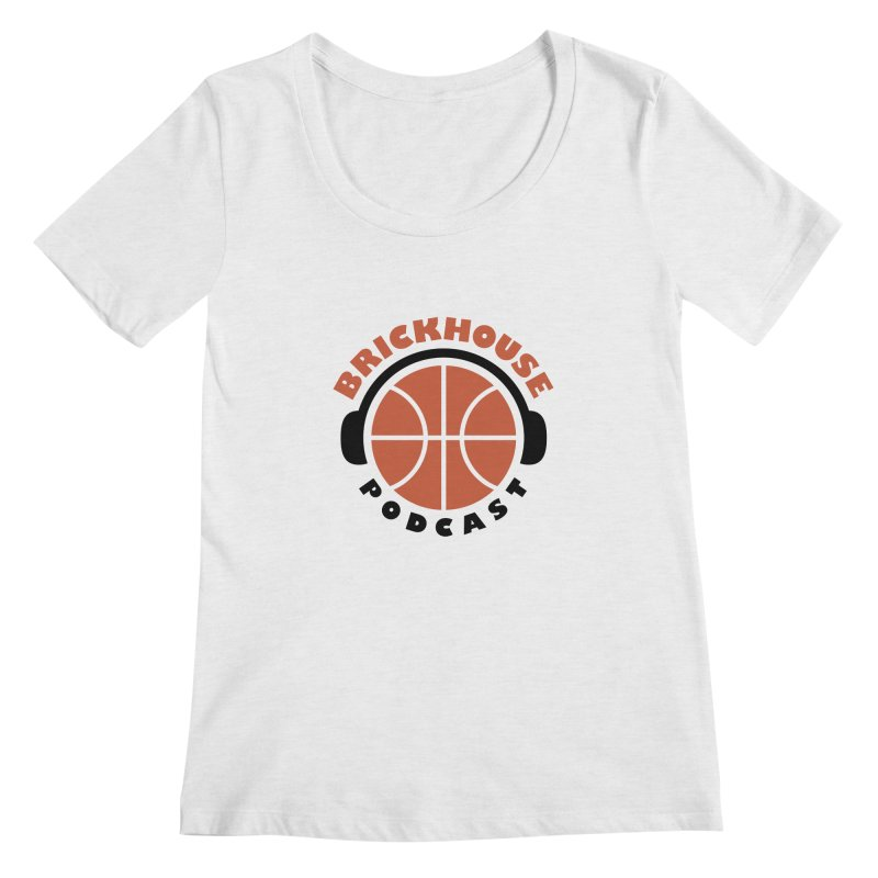 Brickhouse Podcast Logo Apparel (Flat) Orange/Black Women's Scoop Neck by Brickhouse Podcast Shop