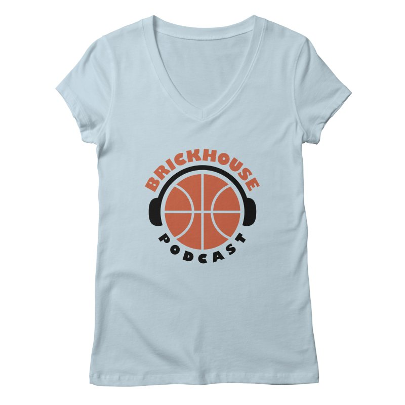 Brickhouse Podcast Logo Apparel (Flat) Orange/Black Women's V-Neck by Brickhouse Podcast Shop