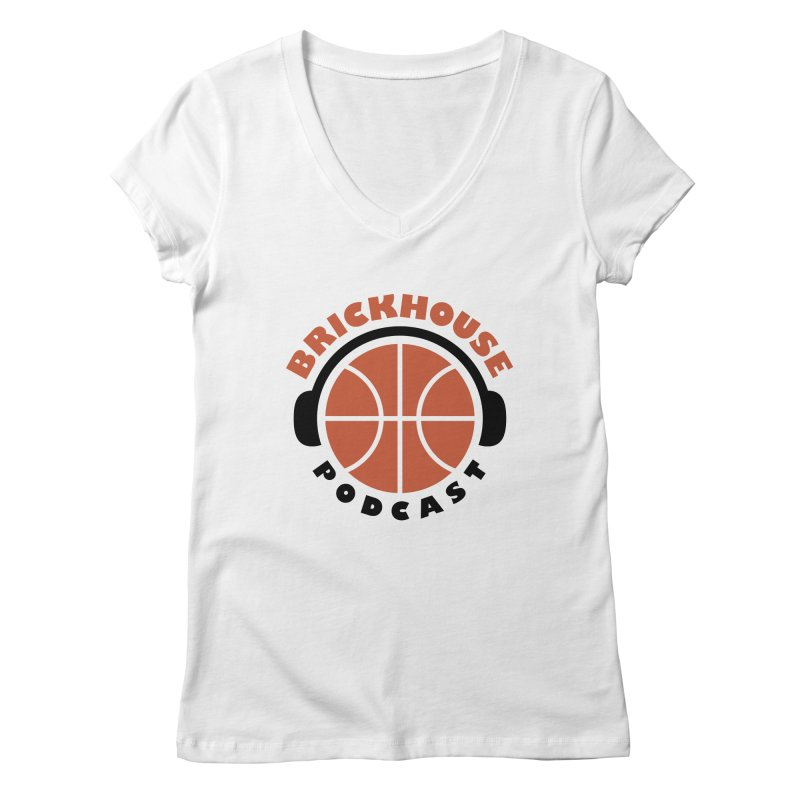Brickhouse Podcast Logo Apparel (Flat) Orange/Black Women's Regular V-Neck by Brickhouse Podcast Shop