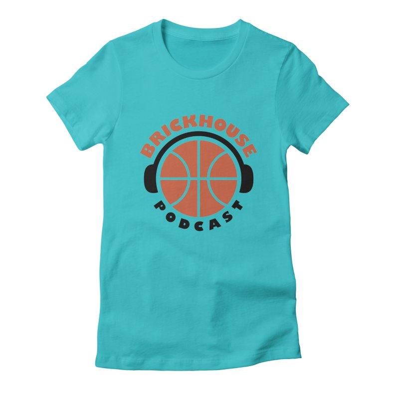 Brickhouse Podcast Logo Apparel (Flat) Orange/Black Women's Fitted T-Shirt by Brickhouse Podcast Shop