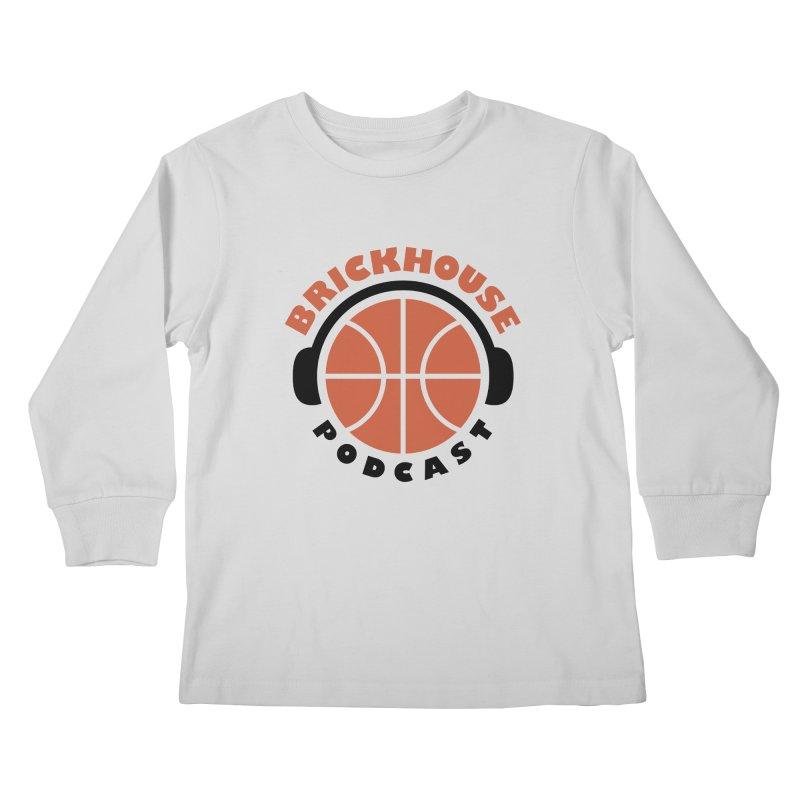 Brickhouse Podcast Logo Apparel (Flat) Orange/Black Kids Longsleeve T-Shirt by Brickhouse Podcast Shop