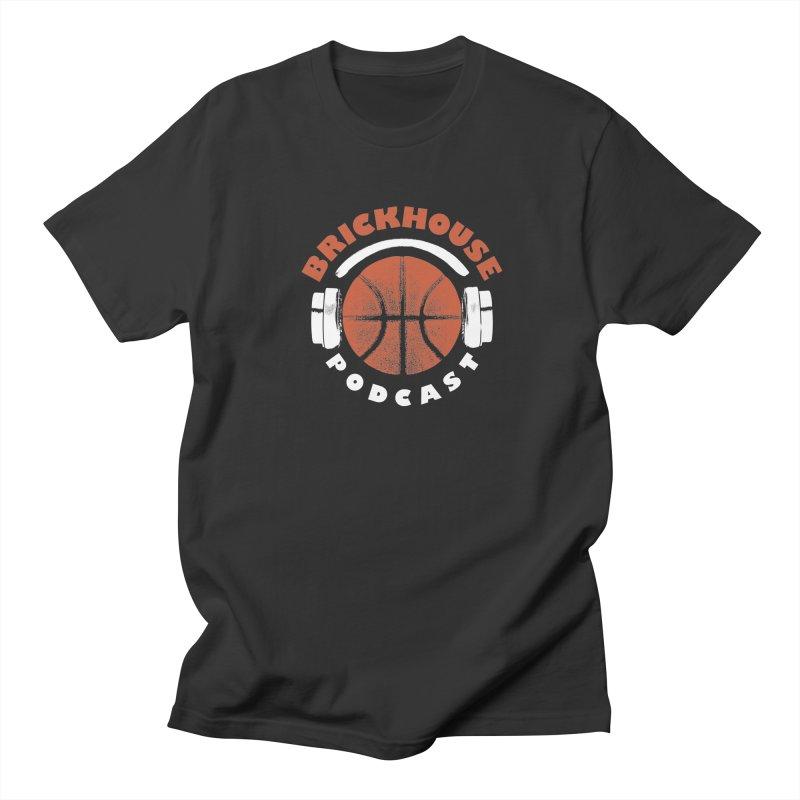 Brickhouse Podcast Logo Apparel (Pumped) Orange/White Men's Regular T-Shirt by Brickhouse Podcast Shop