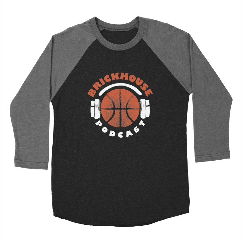 Brickhouse Podcast Logo Apparel (Pumped) Orange/White Men's Baseball Triblend Longsleeve T-Shirt by Brickhouse Podcast Shop