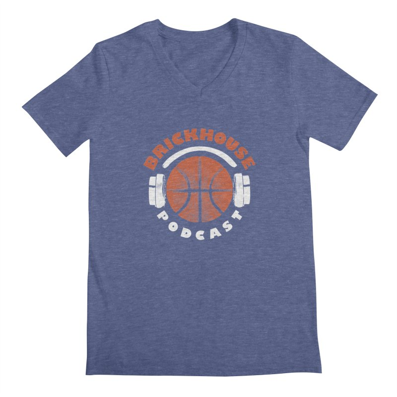 Brickhouse Podcast Logo Apparel (Pumped) Orange/White Men's Regular V-Neck by Brickhouse Podcast Shop