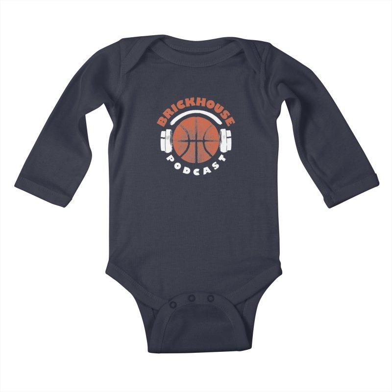 Brickhouse Podcast Logo Apparel (Pumped) Orange/White Kids Baby Longsleeve Bodysuit by Brickhouse Podcast Shop