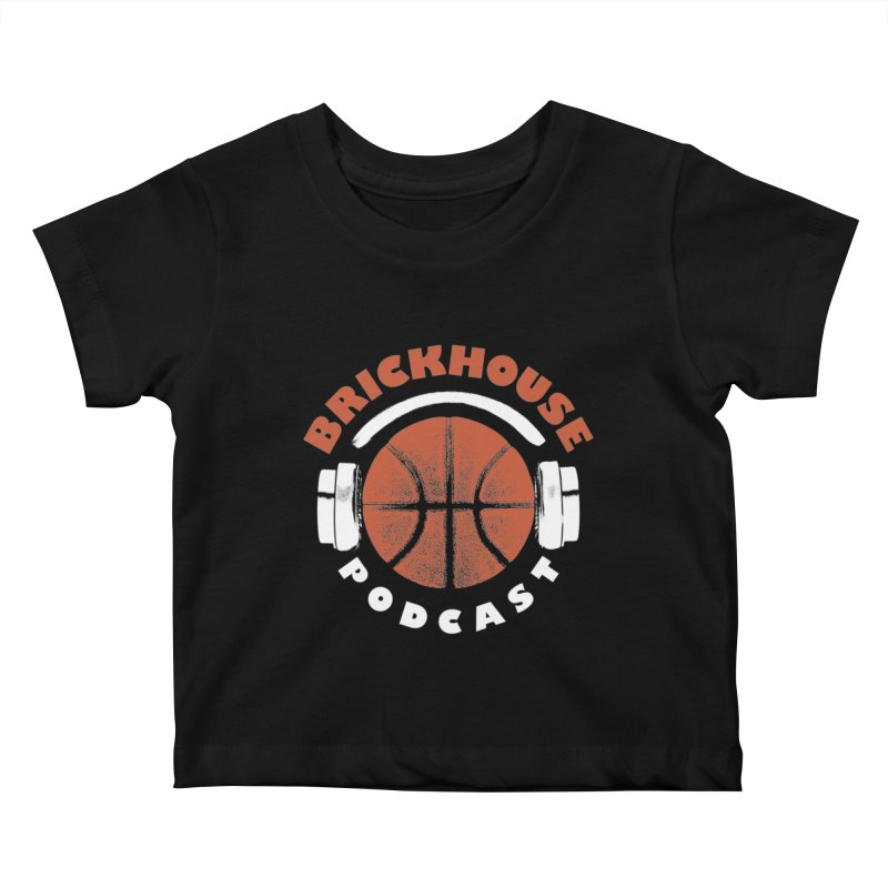 Brickhouse Podcast Logo Apparel (Pumped) Orange/White Kids Baby T-Shirt by Brickhouse Podcast Shop