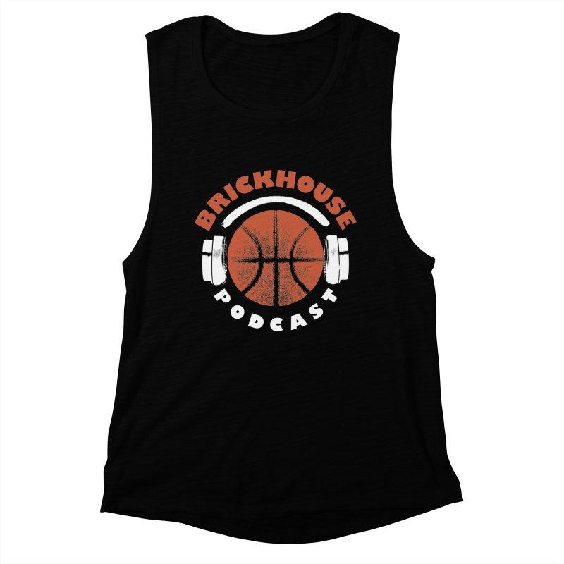 Brickhouse Podcast Logo Apparel (Pumped) Orange/White Women's Muscle Tank by Brickhouse Podcast Shop
