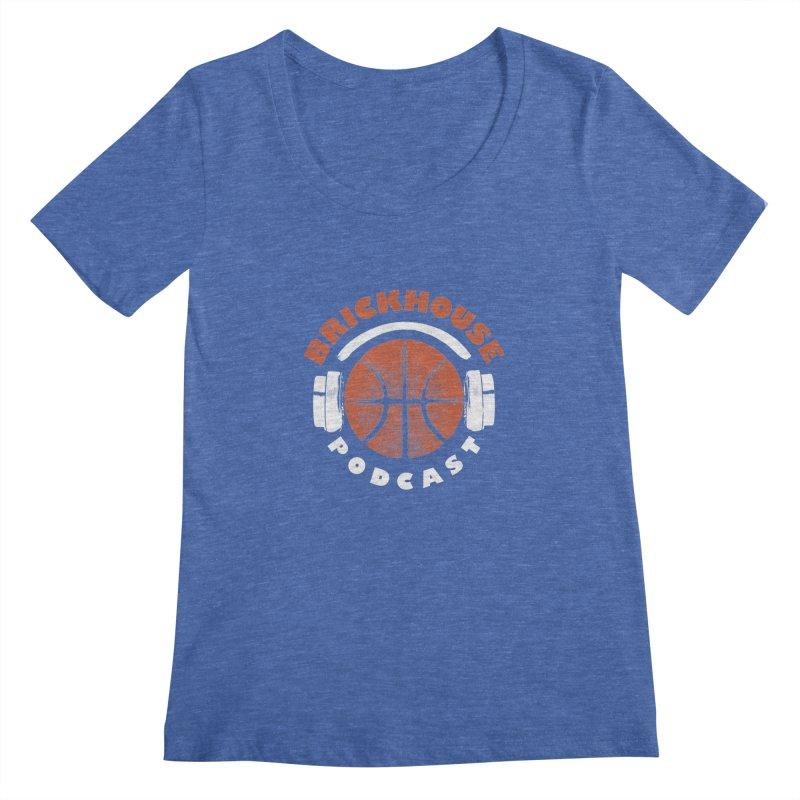 Brickhouse Podcast Logo Apparel (Pumped) Orange/White Women's Regular Scoop Neck by Brickhouse Podcast Shop