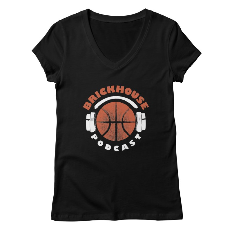 Brickhouse Podcast Logo Apparel (Pumped) Orange/White Women's Regular V-Neck by Brickhouse Podcast Shop