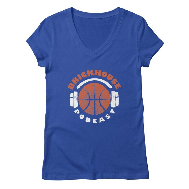 Brickhouse Podcast Logo Apparel (Pumped) Orange/White Women's Regular V-Neck by Brickhouse Podcast Shop