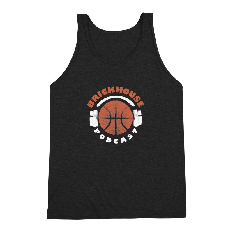 Brickhouse Podcast Logo Apparel (Pumped) Orange/White Men's Triblend Tank by Brickhouse Podcast Shop