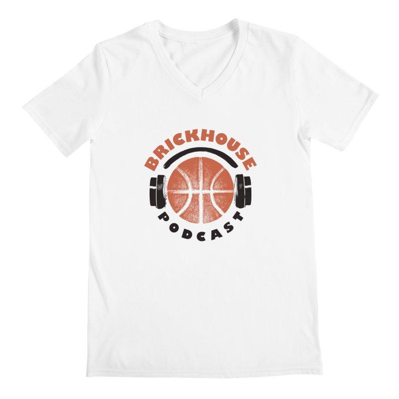 Brickhouse Podcast Logo Apparel (Pumped) Orange/Black Men's V-Neck by Brickhouse Podcast Shop