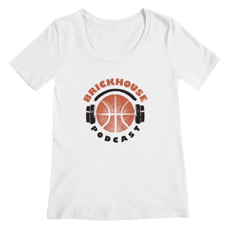 Brickhouse Podcast Logo Apparel (Pumped) Orange/Black Women's Regular Scoop Neck by Brickhouse Podcast Shop