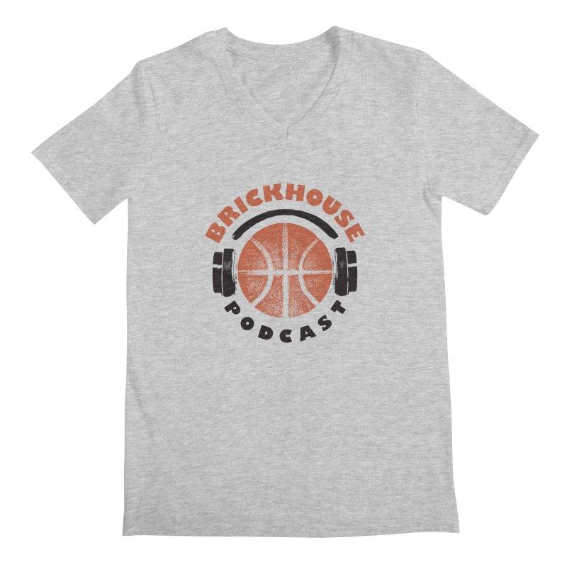 Brickhouse Podcast Logo Apparel (Pumped) Orange/Black Men's Regular V-Neck by Brickhouse Podcast Shop