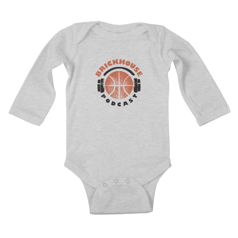 Brickhouse Podcast Logo Apparel (Pumped) Orange/Black Kids Baby Longsleeve Bodysuit by Brickhouse Podcast Shop