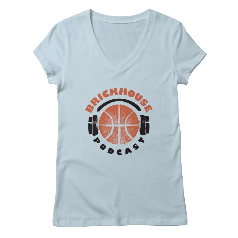 Brickhouse Podcast Logo Apparel (Pumped) Orange/Black Women's Regular V-Neck by Brickhouse Podcast Shop