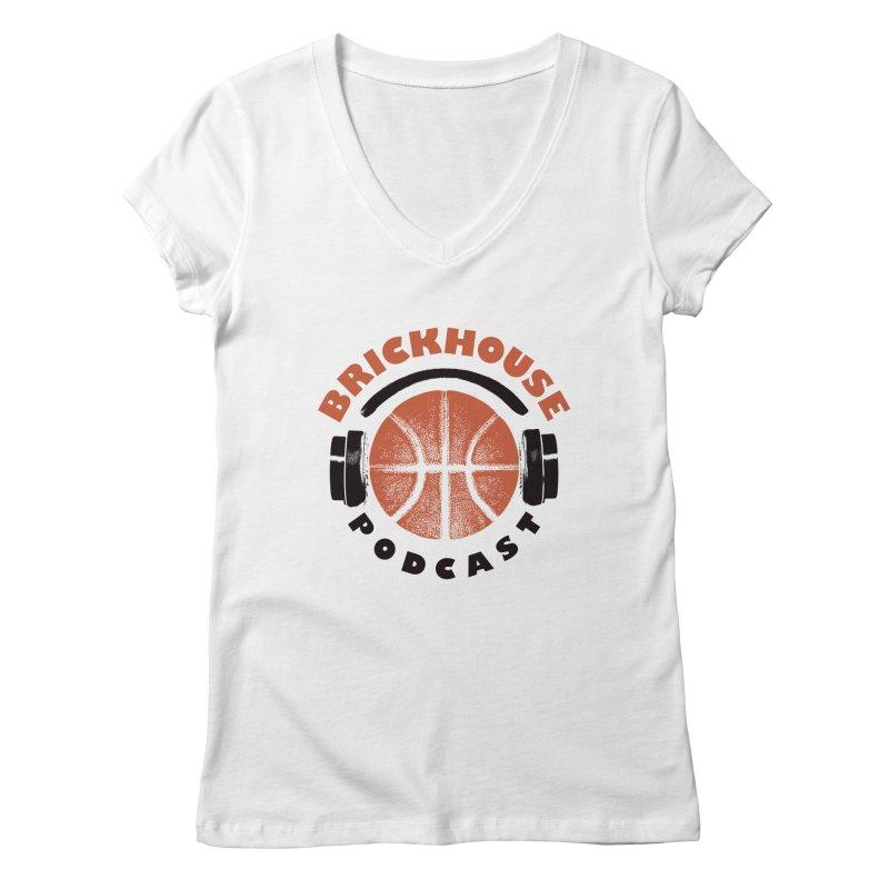 Brickhouse Podcast Logo Apparel (Pumped) Orange/Black Women's Regular V-Neck by Brickhouse Podcast Shop