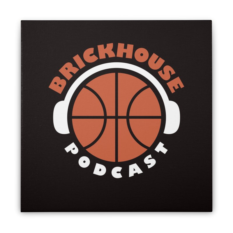 Brickhouse Podcast Logo Wall Art (Flat) Orange/White Home Stretched Canvas by Brickhouse Podcast Shop