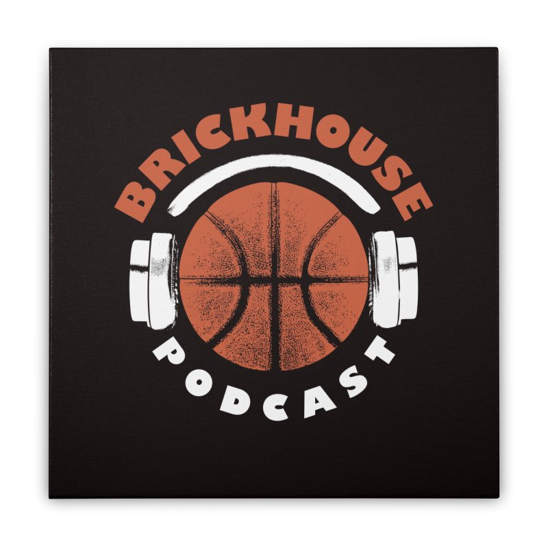 Brickhouse Podcast Logo Wall Art (Pumped) Orange/White Home Stretched Canvas by Brickhouse Podcast Shop