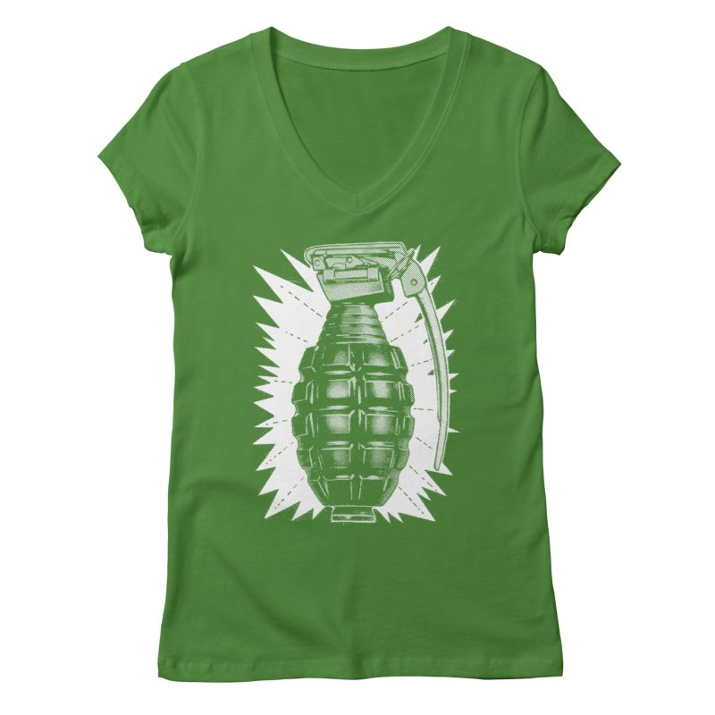pineapple grenade Women's V-Neck by Brimstone Designs