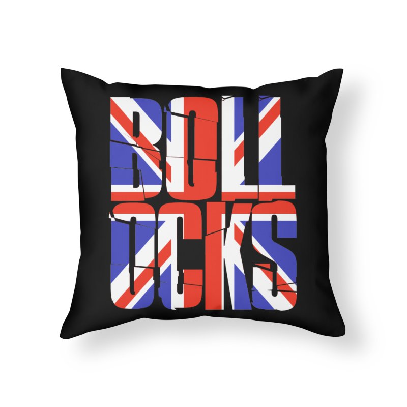 BOLLOCKS Home Throw Pillow by Brimstone Designs