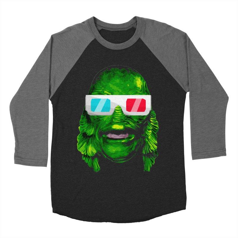 3-D MONSTER Men's Baseball Triblend Longsleeve T-Shirt by Brimstone Designs