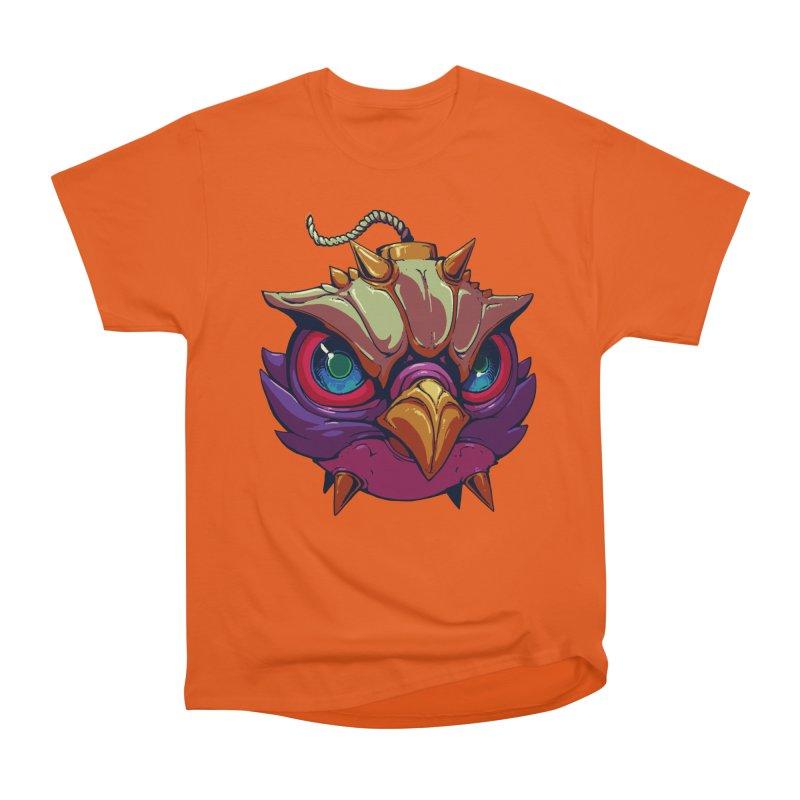 Owl Bomb in Men's Heavyweight T-Shirt Orange Poppy by brockhofer's Artist Shop