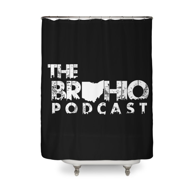 Brohio logo ALL WHITE Home Shower Curtain by Brohio Merch