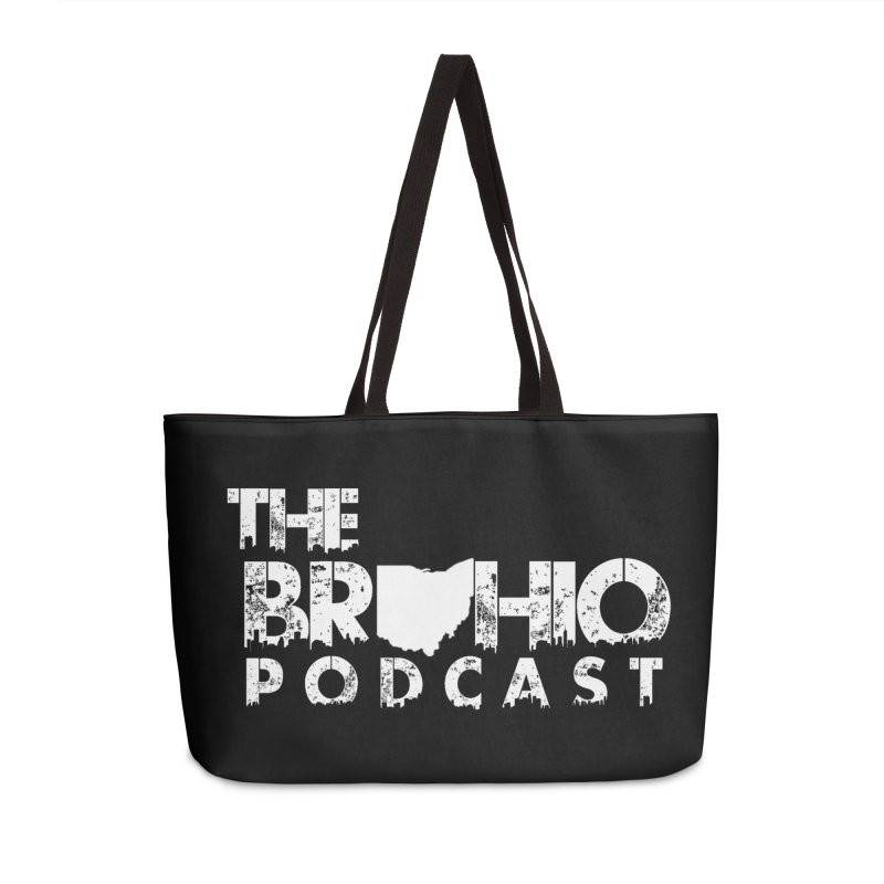 Brohio logo ALL WHITE Accessories Weekender Bag Bag by Brohio Merch