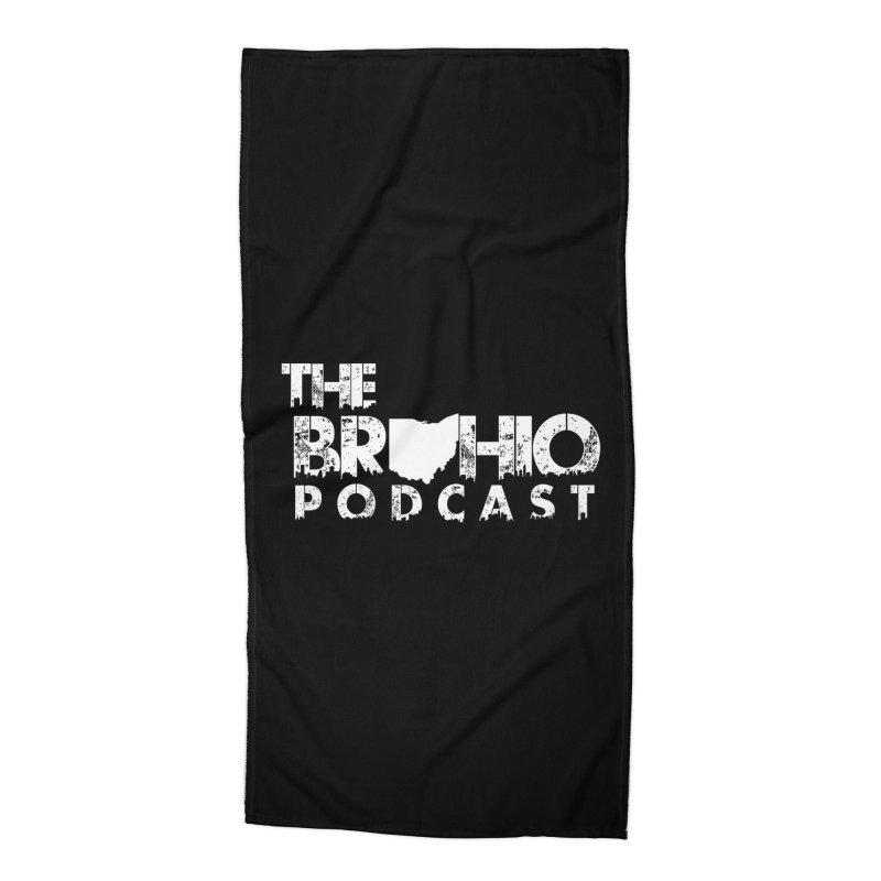 Brohio logo ALL WHITE Accessories Beach Towel by Brohio Merch