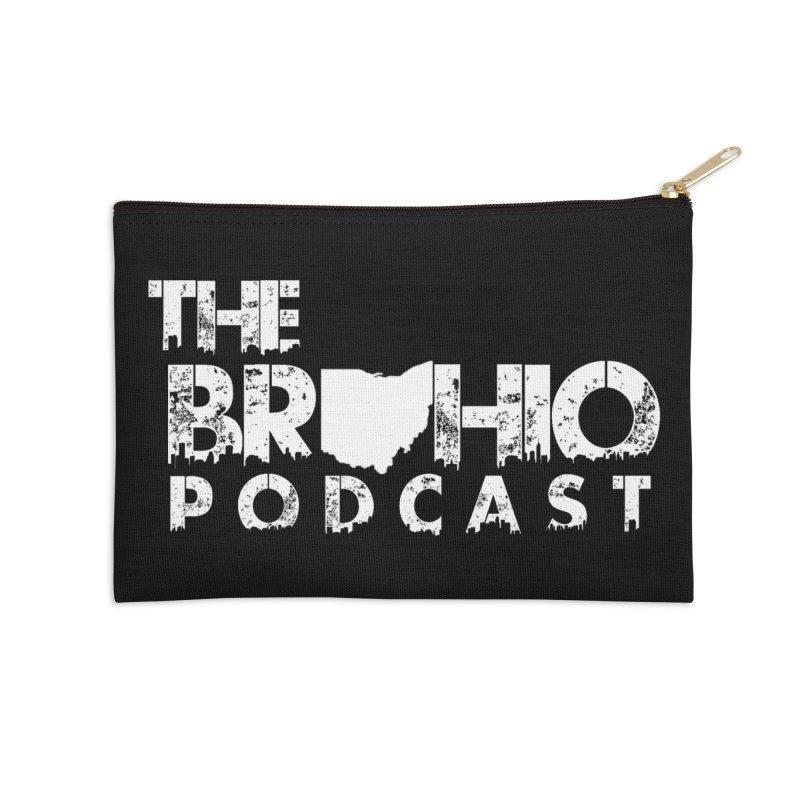 Brohio logo ALL WHITE Accessories Zip Pouch by Brohio Merch