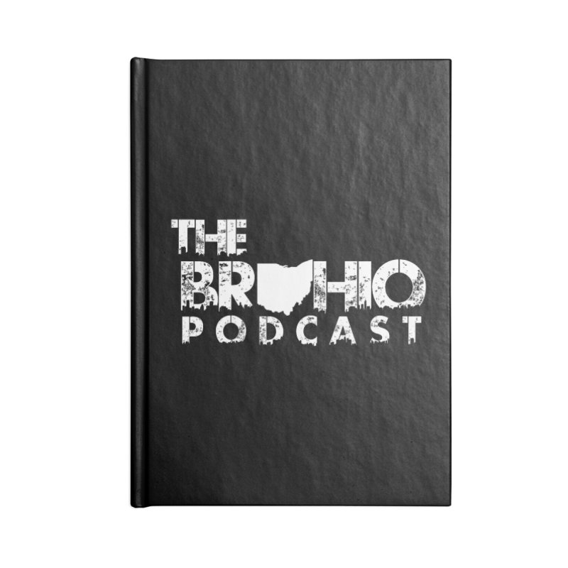 Brohio logo ALL WHITE Accessories Lined Journal Notebook by Brohio Merch