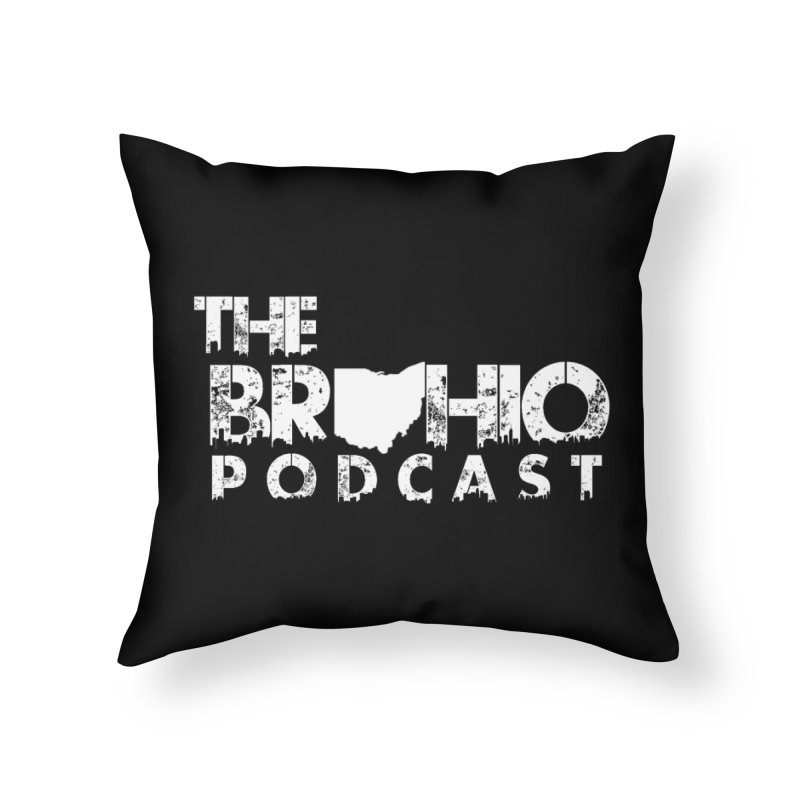 Brohio logo ALL WHITE Home Throw Pillow by Brohio Merch