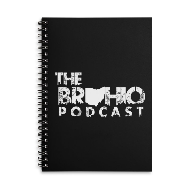 Brohio logo ALL WHITE Accessories Lined Spiral Notebook by Brohio Merch