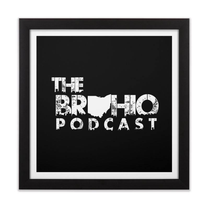 Brohio logo ALL WHITE Home Framed Fine Art Print by Brohio Merch