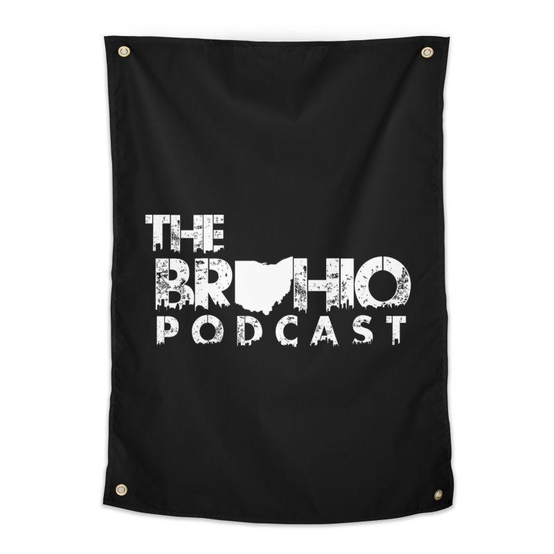 Brohio logo ALL WHITE Home Tapestry by Brohio Merch