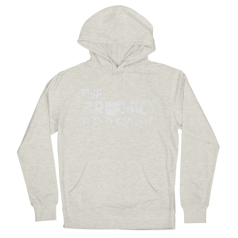 Brohio logo ALL WHITE Men's French Terry Pullover Hoody by Brohio Merch