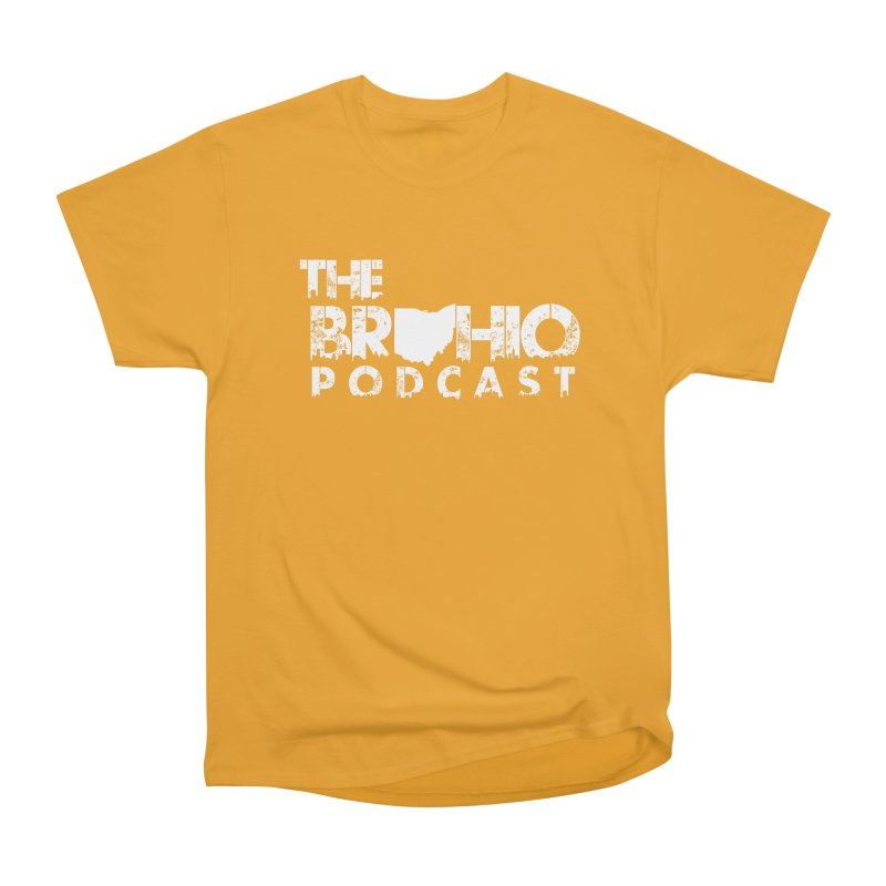 Brohio logo ALL WHITE Men's Heavyweight T-Shirt by Brohio Merch