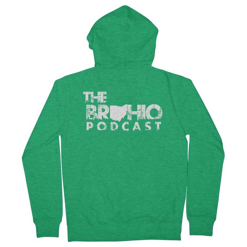 Brohio logo ALL WHITE Women's Zip-Up Hoody by Brohio Merch