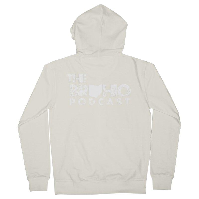 Brohio logo ALL WHITE Women's French Terry Zip-Up Hoody by Brohio Merch