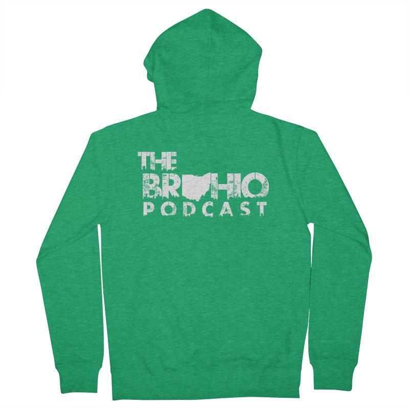 Brohio logo ALL WHITE Men's Zip-Up Hoody by Brohio Merch
